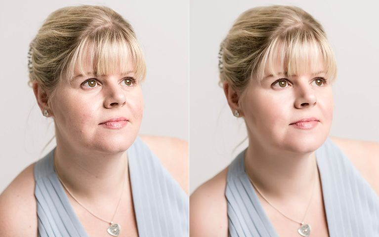 A woman's portrait with and without airbrushing
