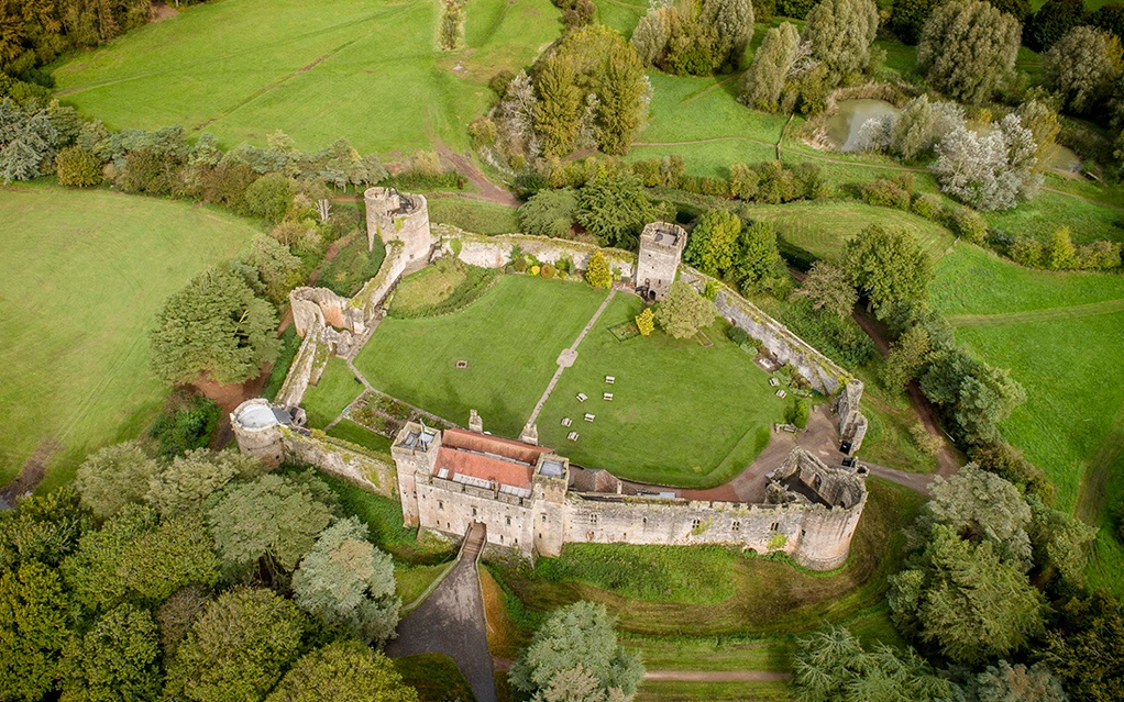 An overview shot of Caldicot castle and its grounds