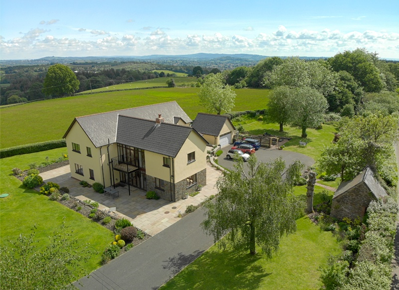 An aerial photograph of a house for sale