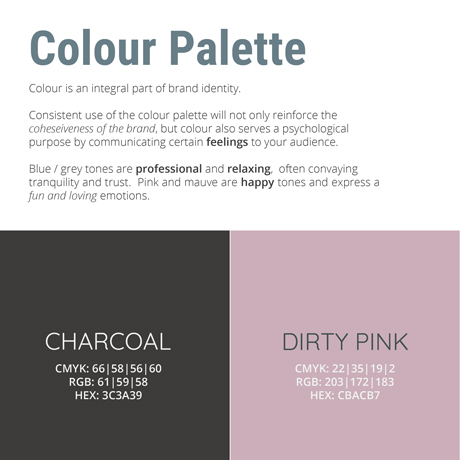 An image of the MorLove branding guidelines colours
