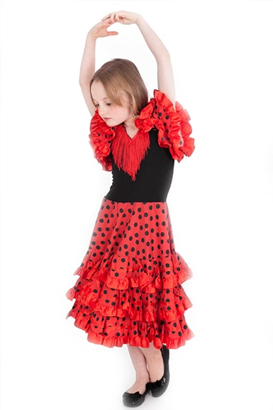 Young girl in Spanish dancing outfit