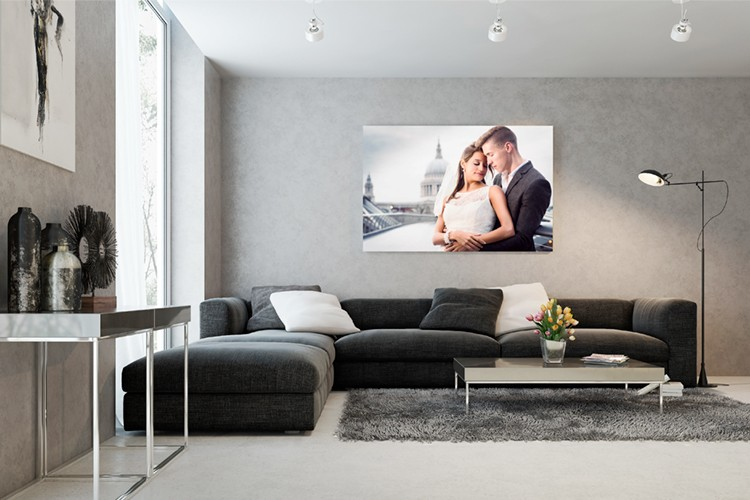 living room scene with MorLove wall canvas