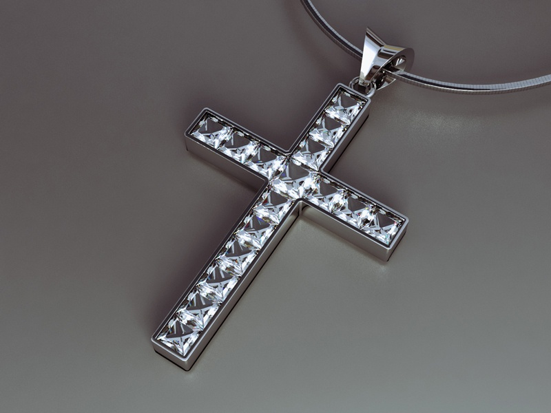 A 3D graphic of a silver cross neclace with diamonds
