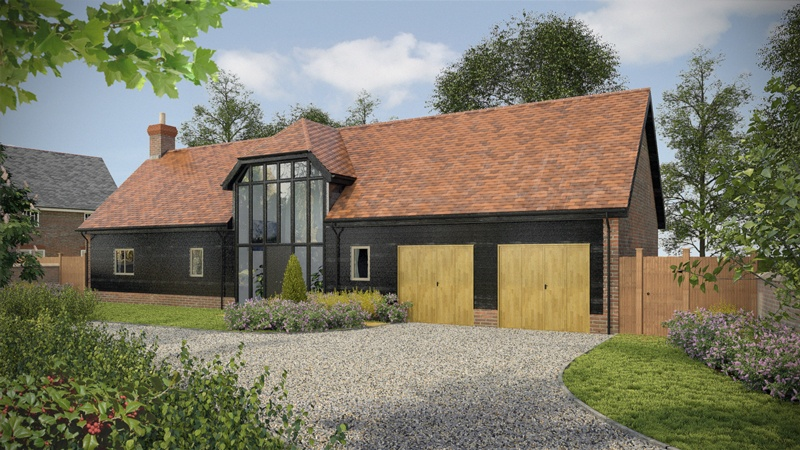 A 3D graphic of a barn conversion house