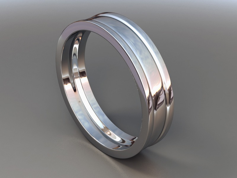 A 3D graphic of a silver ring